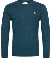 anf mens sweaters stickad tröja m. rund krage blå abercrombie & fitch