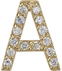 diamond accent initial single stud earring in 14k gold
