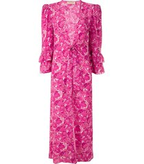 adriana degreas floral-print silk dress - pink