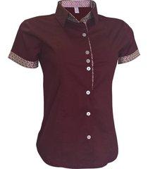camisa lojas vicenttino manga curta vermelho escuro