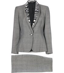 versace pre-owned prince of wales print skirt suit - grey