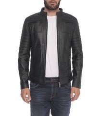 chaqueta de cuero negro biha