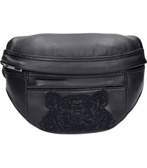 kenzo waist bag in black leather