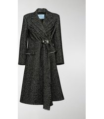 prada herringbone weave belted coat