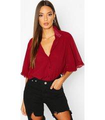 woven ruffle angel sleeve blouse, wine