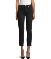 7 for all mankind women's high-rise cropped skinny jeans - black marble - size 23 (00)