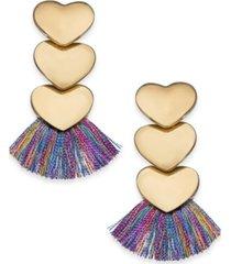 inc gold-tone heart fringe drop earrings, created for macy's