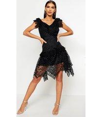 all over crochet skater midi dress, black