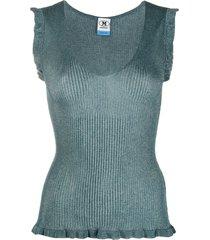 m missoni lurex knit vest - blue