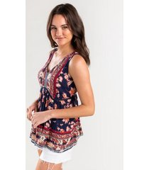amy mixed media print top - navy