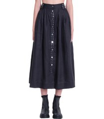 ganni skirt in black triacetate