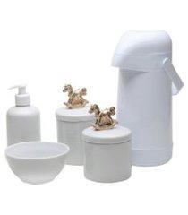 potes, garrafa, molhadeira e porta álcool-gel potinho de mel cavalinho dourado