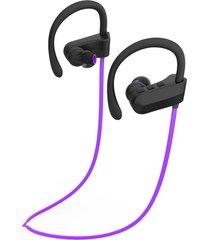 audífonos bluetooth deportivos, q12 auriculares de música de oreja colgante estéreo audifonos bluetooth manos libres  auriculares de deportes (púrpura)