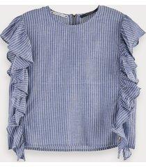 scotch & soda cotton blend boxy fit striped ruffle top