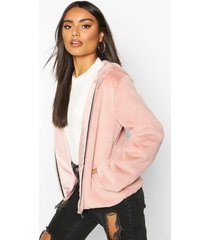 hooded faux fur coat, dusky pink