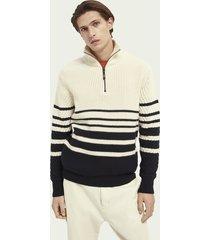 scotch & soda chunky knit half-zip wool-blend sweater