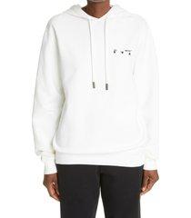 women's off-white liquid melt arrow logo women's hoodie, size small - white