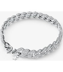 mk bracciale con maglie a catena in argento sterling e placcatura in metallo prezioso e pavé - argento (argento) - michael kors