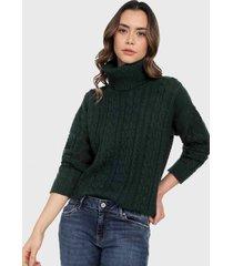 sweater cuello tortuga verde musgo mujeron