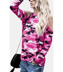 pink camouflage round cuello camiseta de manga larga con hombros descubiertos