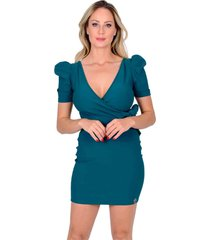 vestido miss misses tubinho transpassado verde