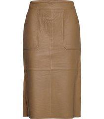 francie midi leather skirt knälång kjol beige second female