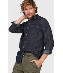 camisa azul levi's classic western standard - rinse