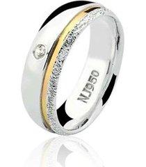 aliança prata 925 filete de ouro elegance natalia joias alp-98