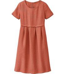 linnen jurk in empirelijn, gestippeld 40