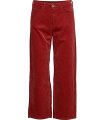 5 pocket wide leg wijde broek rood lee jeans