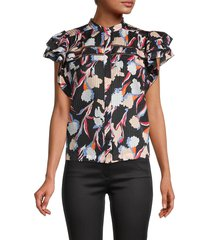 joie women's printed cotton & silk-blend top - caviar multi - size xxs