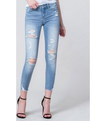 vervet mid rise distressed crop skinny jeans