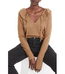 women's madewell tie neck ruffle pullover sweater, size small - brown