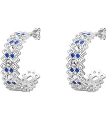 orecchini a cerchio 30 mm in ottone rodiato con cristalli e smalto blu per donna