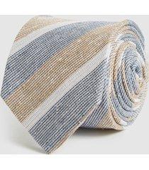reiss leven - cotton silk blend striped tie in blue/white, mens