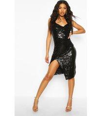 midi jurk met wijde hals, pailetten en zijsplit, zwart