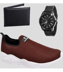 sapatenis casual masculino com relógio e carteira