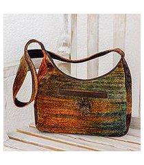 rayon and cotton blend handbag, 'autumn day' (guatemala)