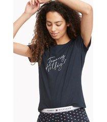 tommy hilfiger women's logo short pajama set navy blazer - l