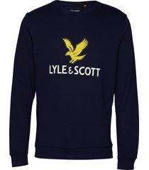 logo sweatshirt sweat-shirt trui blauw lyle & scott