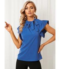 blusa sin mangas con cuello alto y diseño de corbata yoins