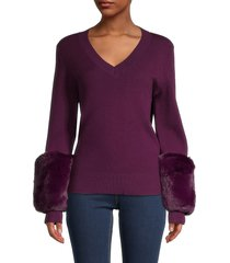 saks fifth avenue women's faux fur cuff sweater - cloudburst - size m
