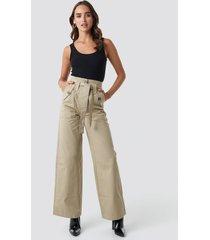 trendyol belt pocket detailed pants - beige