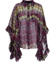 dsquared2 floral print ruffled top