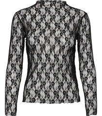 stretch lace trutte t-shirts & tops long-sleeved zwart mads nørgaard