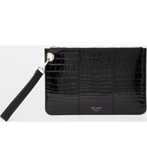 river island womens black leather croc embossed clutch handbag