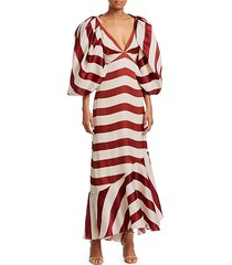 striped puff-sleeve maxi dress