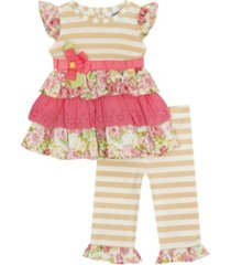 rare editions toddler girls 2 piece tiered knit legging set