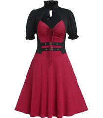 plus size high collar tie two tone vintage dress