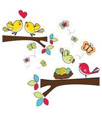 adesivo de parede quartinhos galhos com pássaros colorido